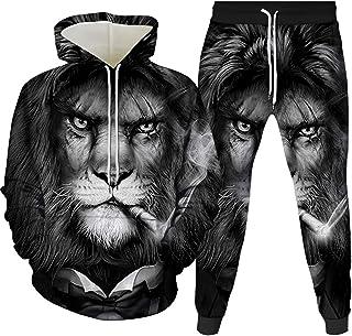 HoneyStore Unisex Lion Tracksuit Men Women Hoodie Sweatpants Sports Sweatsuits