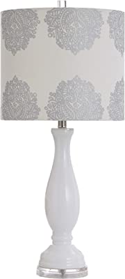 Collective Design L38028ADSAM Northbay, White Finish, Silver Designer Print Hardback Shade Table Lamp