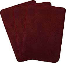 "Kuber Industries Microfiber Anti Slip 3 Pieces Door Mat 22""x14"", Maroon - CTKTC21911"