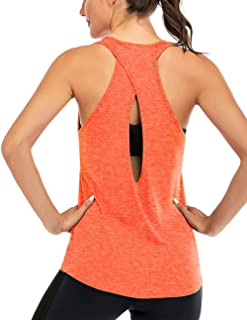 Fihapyli Women's Cross Back Yoga Shirt Backless Workout Tops for Womens Racerback Tank Tops Open Back Running Muscle Tanks