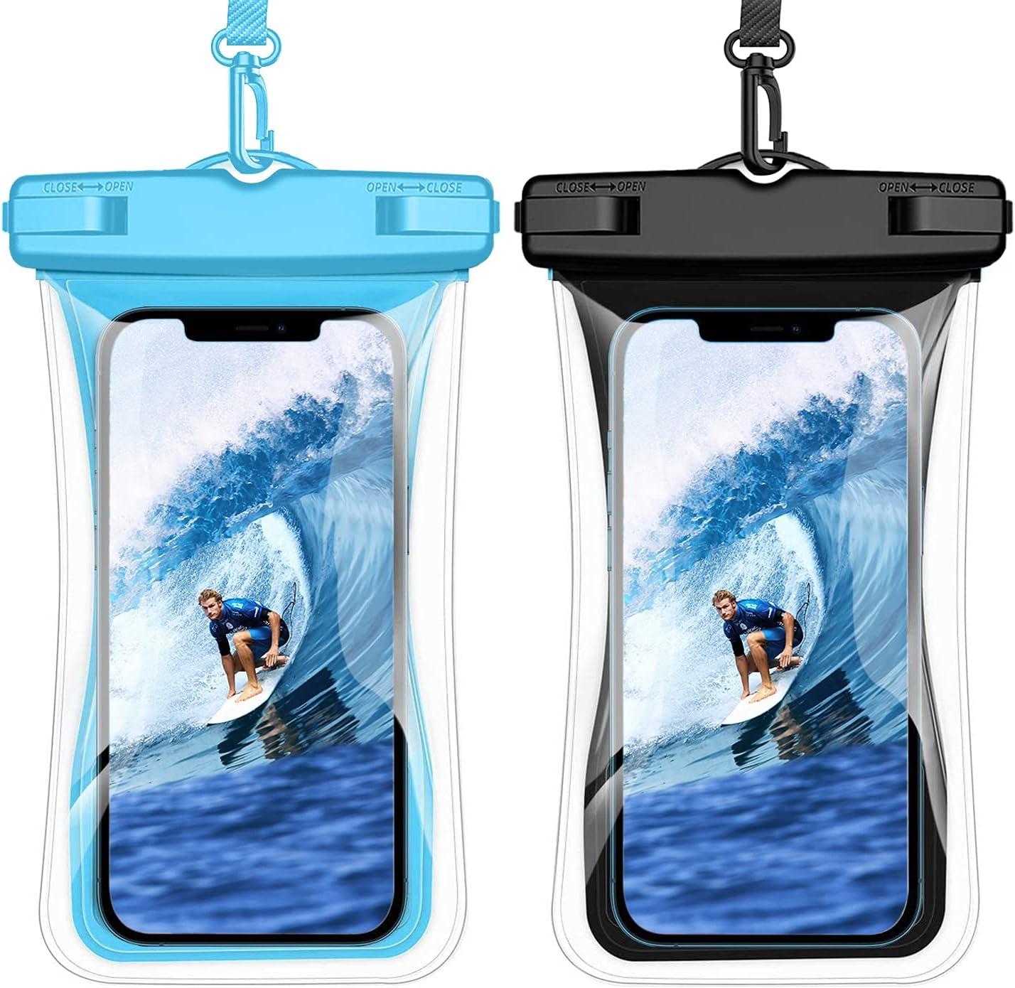 Weuiean Waterproof Phone Case Floating Waterproof Phone Bag, Lanyard Phone Dry Bag for iPhone 12/11/SE/XS/XR 8/7Plus, Samsung S21/20/10/10+/Note, LG, Pixel up to 6.9 inch - 2Pack Black + Blue
