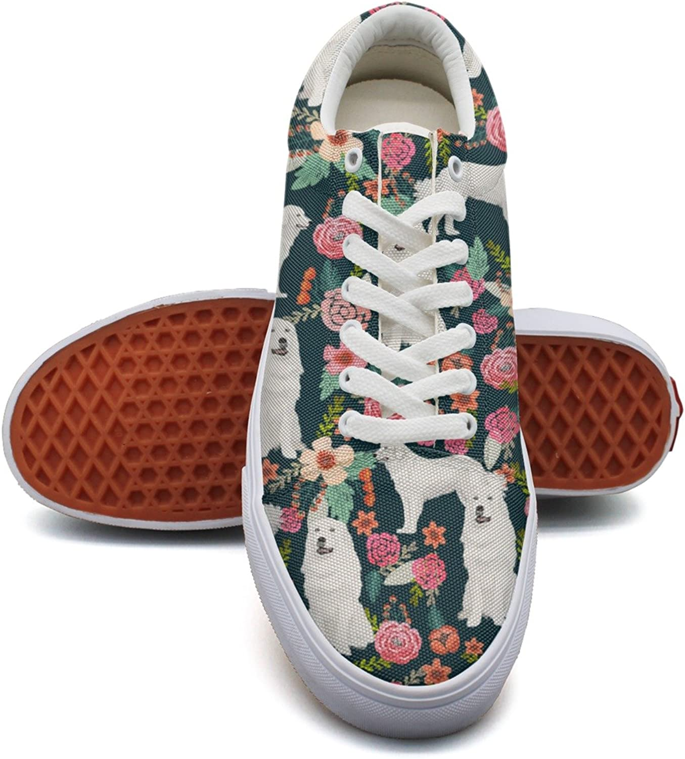Cute Vintage Florals Fluffy White Dog Womens Plain Canvas Tennis shoes Low Top Lightweight Basketball shoes for Women Girls