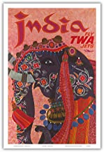 India - Adorned Elephant - Trans World Airlines Fly TWA Jets - Vintage Airline Travel Poster by David Klein 1960 - Master Art Print - 12in x 18in