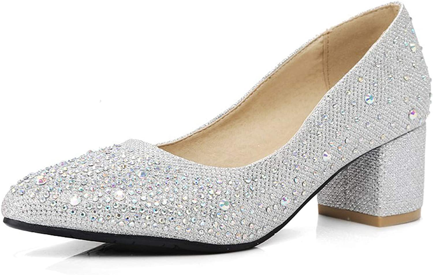 Magic Day Pointed High Heels Pumps Sequined Crystal Ladies Slip On shoes Woman Big Size 45 Rhinestone