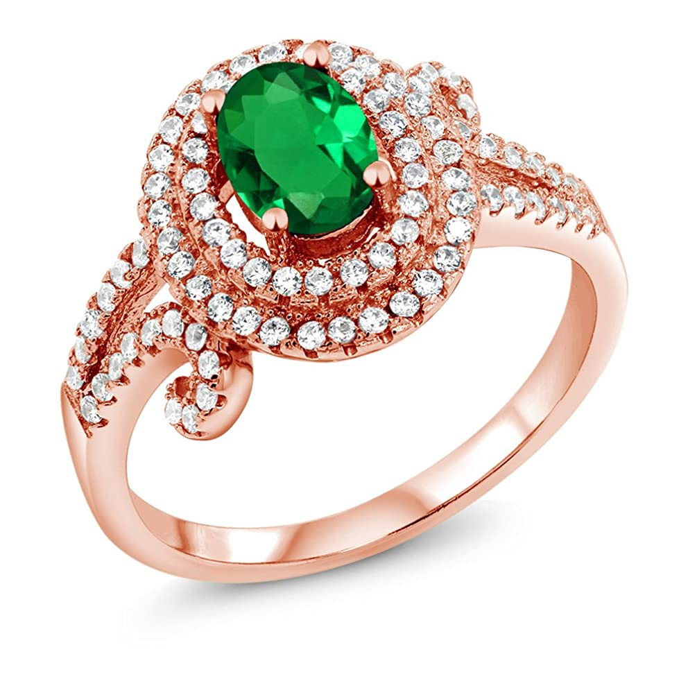 Gem Stone King 1.85 Ct Oval Green Simulated Emerald 925 Rose Gold Plated Silver Ring