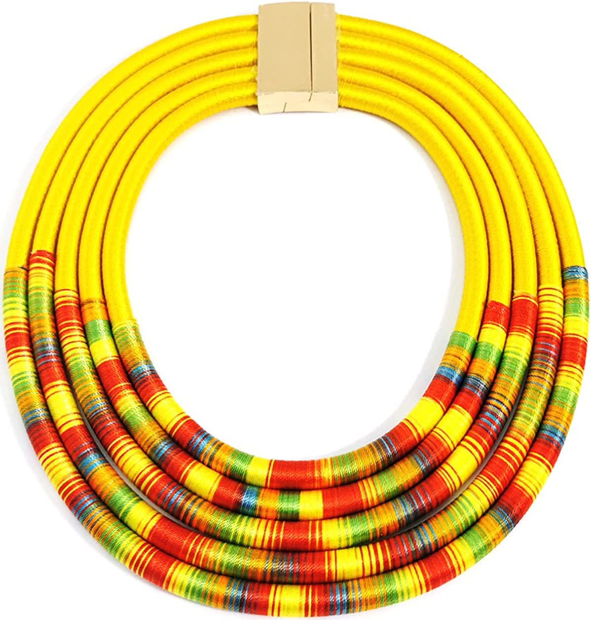 Aowaxbin African Tribal Choker Necklace Traditional Collar Necklace Colorful Rope Weave Bohemian Necklaces African Jewelry for Women