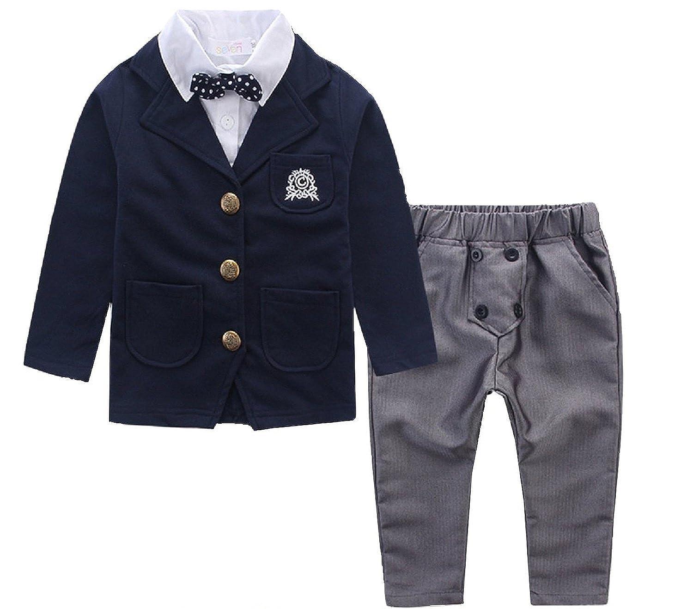 HAOCOO 男の子 フォーマル キッズ 子ども服 スーツ 長袖 蝶ネクタイ付き ジャケット 3点セット 入園式 卒園式 結婚式