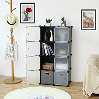 ROLAND Cube Storage Organizer, 8- Cube DIY Plastic Closet Cabinet, Modular Book Shelf Organizer Units, Storage Shelving Id...