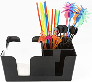 Bar Caddy (6 Compartments) – Bar Supplies Included – All Set and Ready To Go – Includes Napkins, Cocktail Straws, and Swizzle Sticks – Heavy Duty Refillable Bar Organizer (Black)