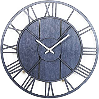 14 Inch Round Wooden Wall Clock, Old Fashioned Battery Operated Wall Clock, Rustic Wall Decor, for Living Room, Kitchen, B...