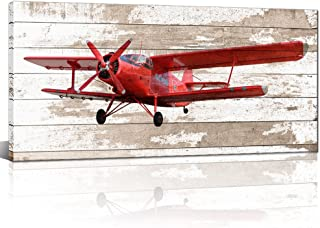 Kolo Wall Art Canvas Wall Art Small Red Vintage Aircraft Prints on Canvas Wall Decals Stretched and Framed for Home Decoration Ready to Hang 24