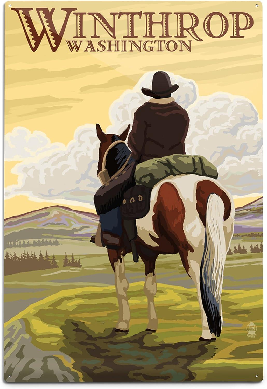 Lantern Press Winthrop Washington Cowboy 12x18 on Horseback Genuine Ranking TOP18 A