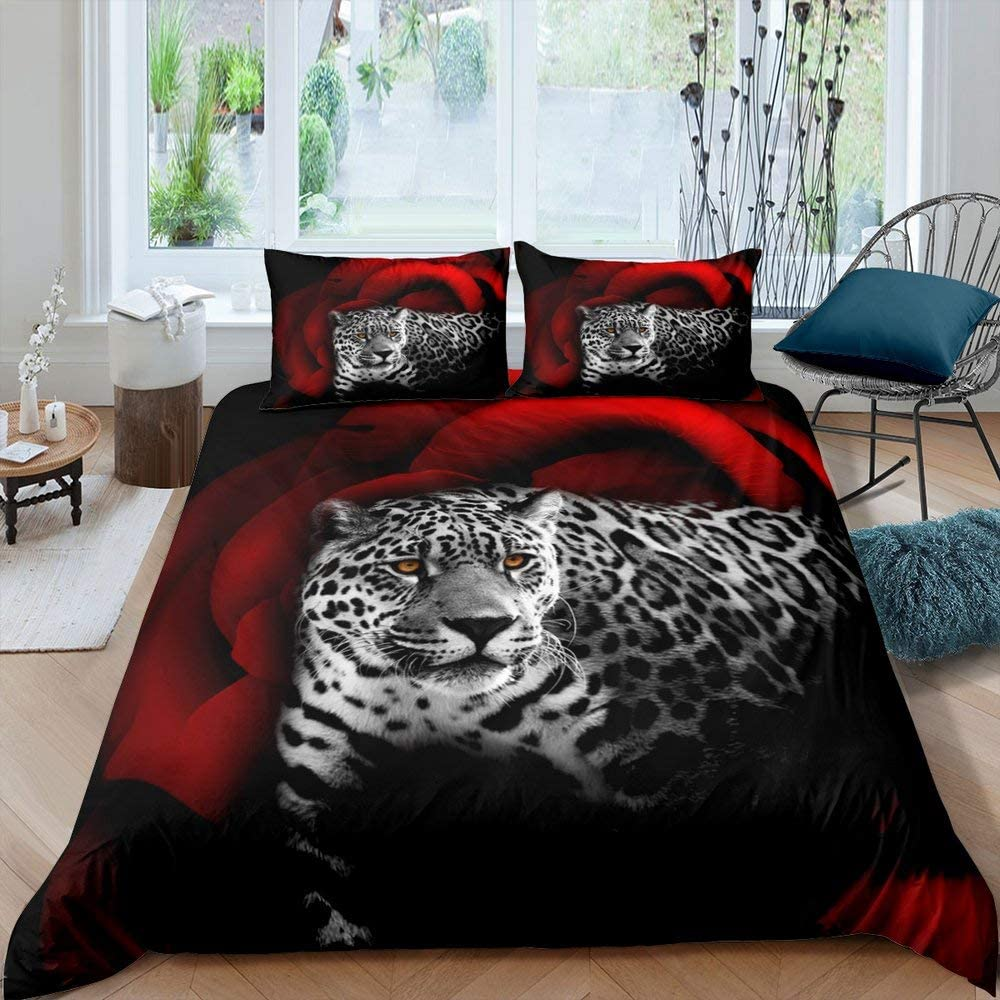 Adults Max 51% OFF Leopard Bedding Set Red Cover Rose Youth Some reservation Duvet Floral