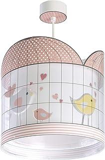 Dalber Lámpara Infantil de Techo Little Birds Pajaros Rosa, 60 W
