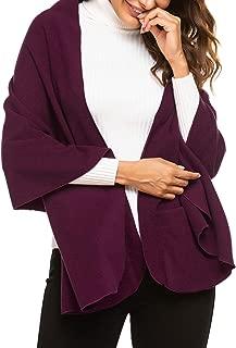 Women Bed Jacket Winter Coat Sweater Cape Cozy Fleece Wrap Shawl with Large Front Pockets - 4 in 1 Multi Wear