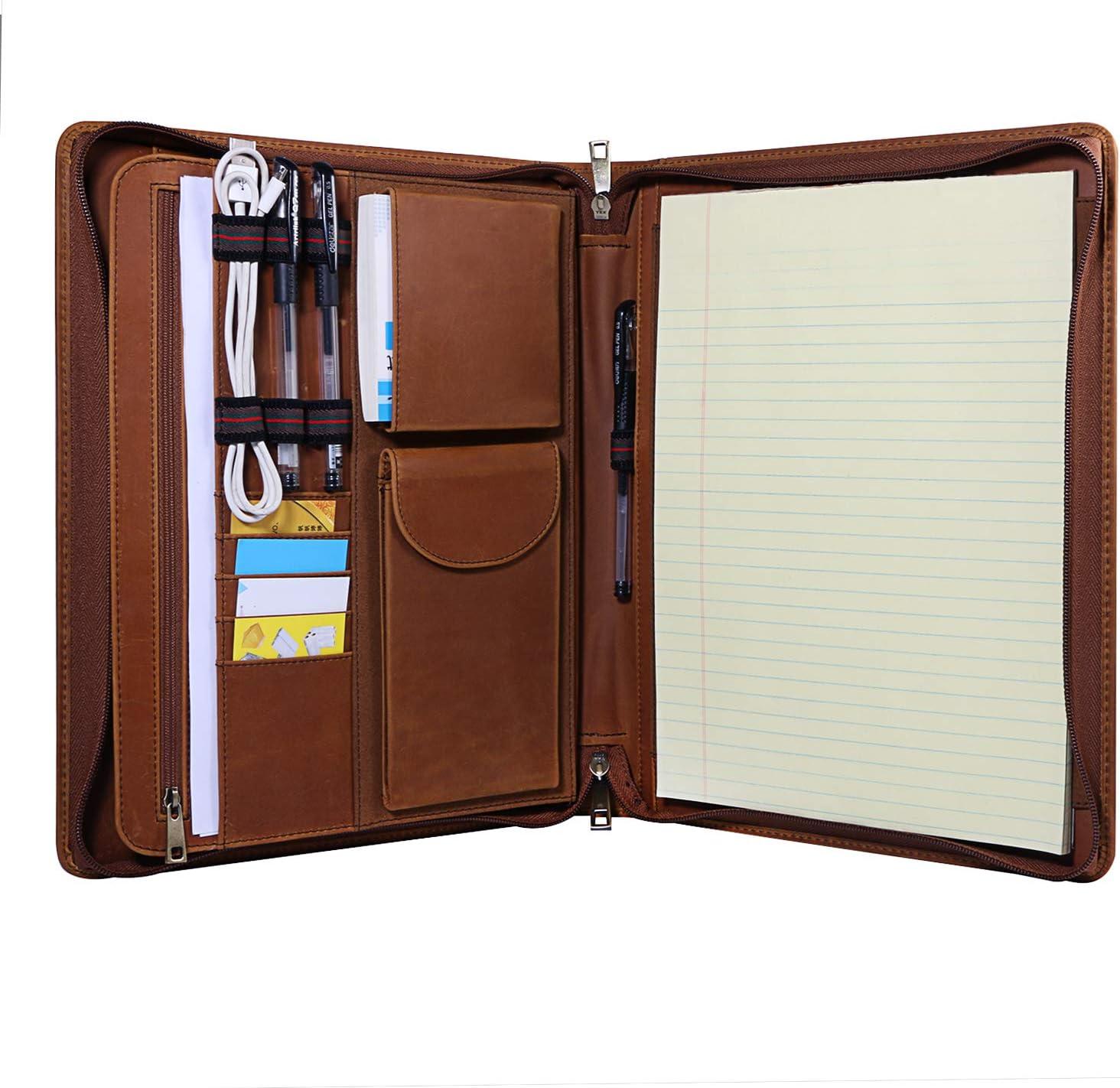 Handmade Crazy-Horse Leather Max 73% OFF Padfolio Portfolio Carry w Max 42% OFF to Easy