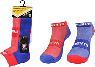 NRL Men's High Performance Sport Ankle Socks, Newcastle Knights, 2pk