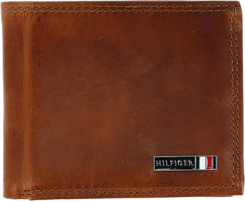 Tommy Hilfiger Men's Leather Edisto RFID Slim Bifold Wallet, Tan