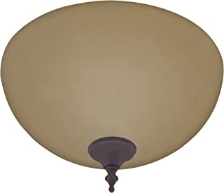 Hunter 21827 Builder Amber Light Bowl, with New Bronze and Antique Brass Cap and Finials