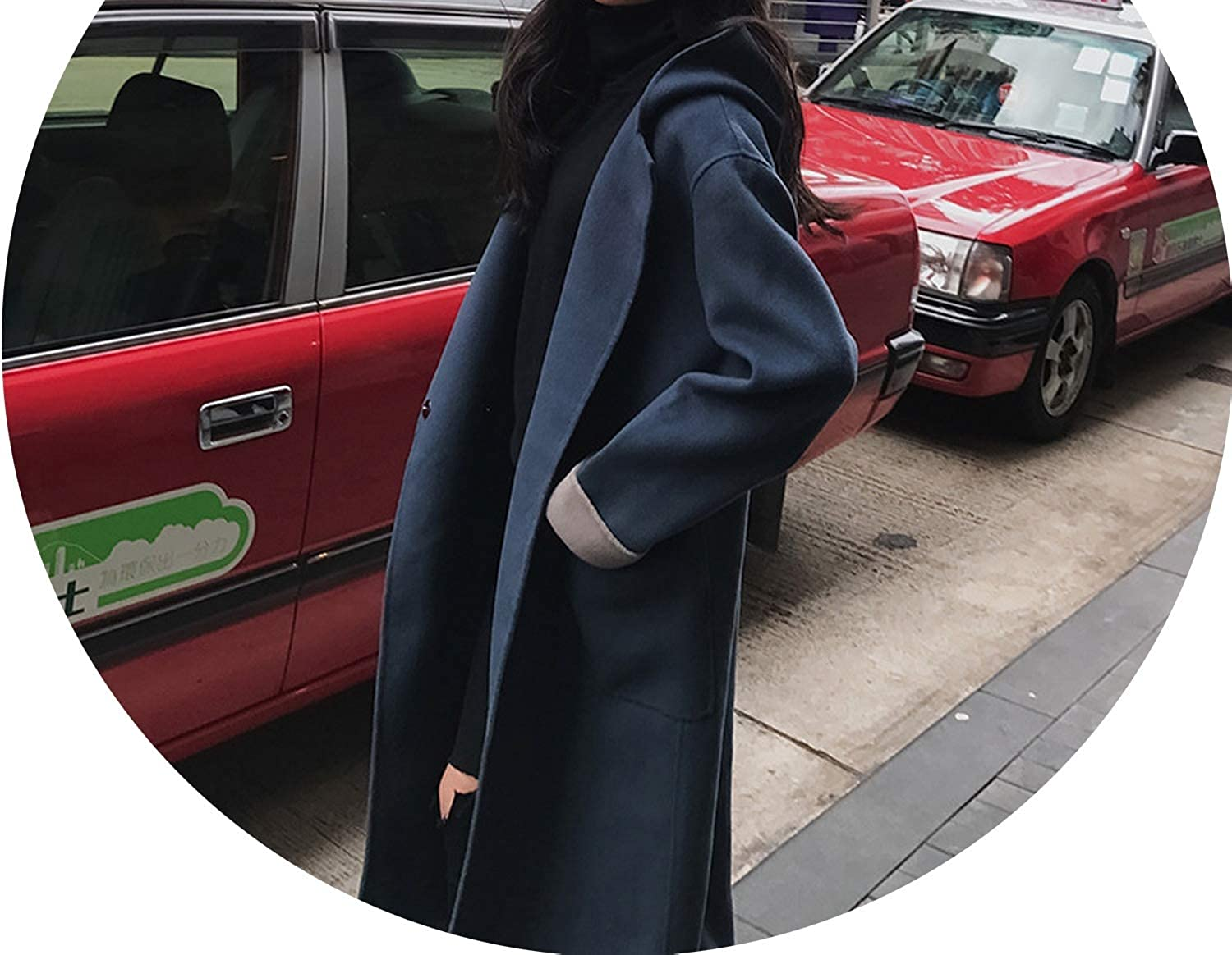 Fashion Casual Long Woolen Winter Coats Loose Pockets Wool Coat and Jacket Single Button Long Solid Ladies Coats