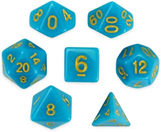 Wiz Dice Skystone Set of 7 Polyhedral Dice, Solid Blue Turquoise Tabletop RPG Dice with Clear Display Box