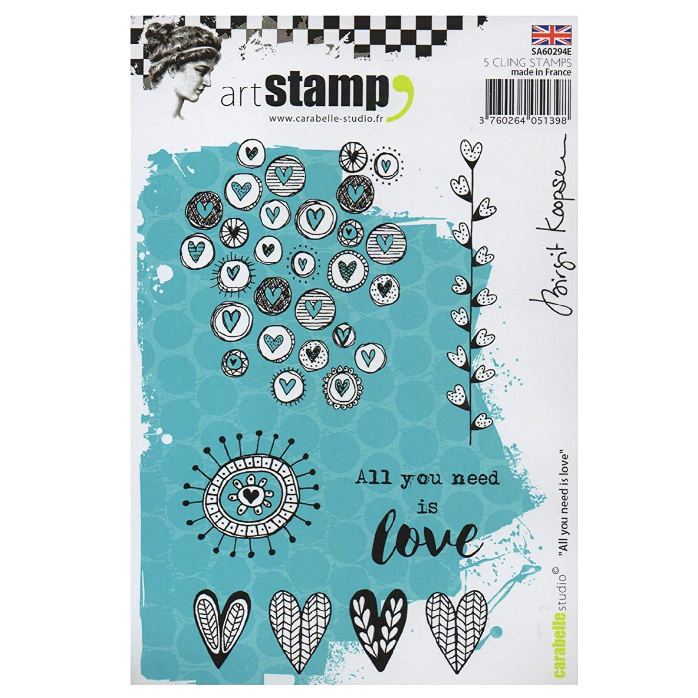 Carabelle Studio Cling Art, All You Need is Love, for Paper Craft Stamping Projects, Cardmaking and Scrapbooks, Multi-Colored, One Size