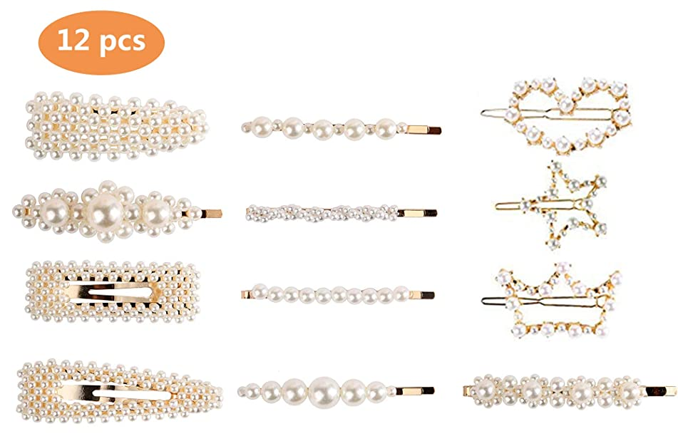 Pearl Hair Clips for Women Girls Ladies Hair Accessories,12PCS Large Hair Bows/Clips/Ties/Pin For Wedding Birthday Valentines Day Gifts Headwear