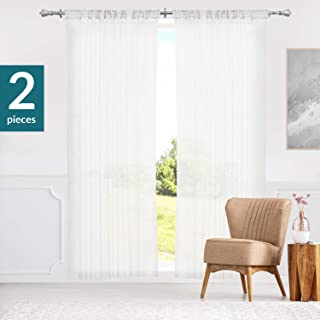 Chicology Curtain Panels, Rod Pocket Top Window Drapes, Adorn White (Sheer) - 52