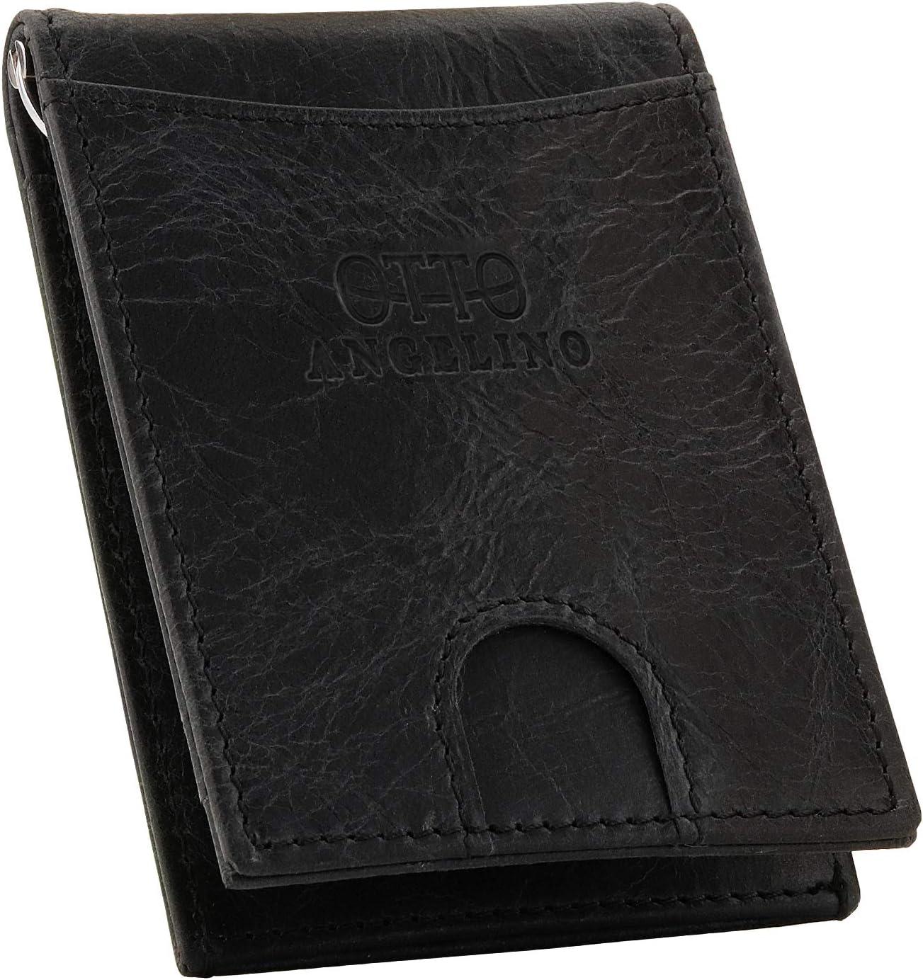 Otto Angelino Top Grain Leather Wallet with Money Clip - RFID Blocking – Unisex