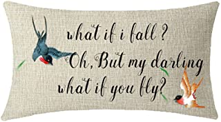 ITFRO Nice Gift What if i Fall oh but My Darling What if You Fly Swallow Birds Waist Lumbar Cotton Linen Throw Pillow Case...