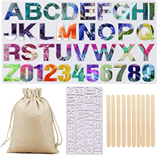 Alphabet Resin Silicone Mold, Large Epoxy Resin Letters Numbers Casting Mold for DIY Keychain Pendant Jewelry, with Storage Bag and Wood Sticks