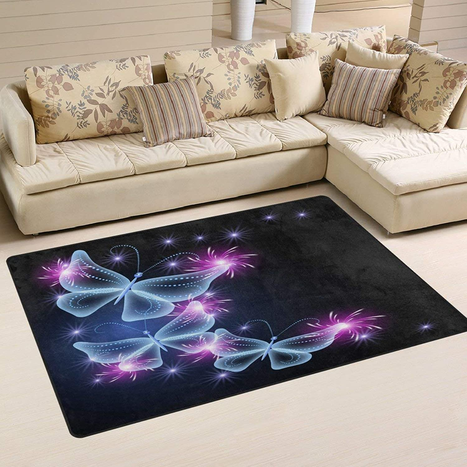 Black Butterfly Firework Star Area Rug Floor Mat Rug Indoor Front Door Kitchen and Living Room Bedroom Mats Rubber Non Slip