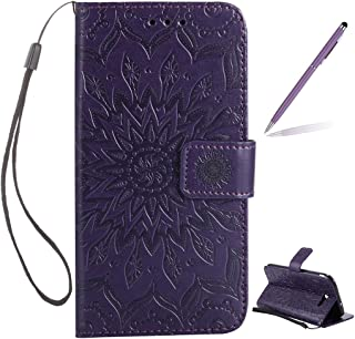 Trumpshop Smartphone Protective Case for Samsung Galaxy J7 Sky Pro (TracFone) SM-J727 [Purple] 3D Mandala Premium PU Leather Flip Wallet Cover Bookstyle Card Slots Stand Feature Shockproof