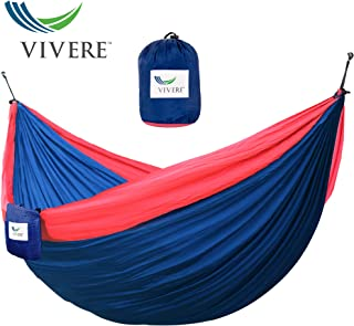 Vivere Parachute Nylon Double Hammock, Navy/Red