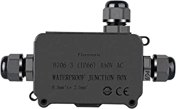 COOLWEST Junction Box IP66 Waterproof Outdoor 3 Cable PG9 Black Plastic Connector Gland Electrical Underground Protection