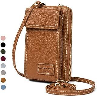 Women Purse Leather Cellphone Holster Wallet Case Mini Small Crossbody Shoulder Bag Messenger Pouch Ladies Handbag Clutch Phone Pockets for iPhone 8 Plus Xs Max X Xr 7/6 Plus Samsung S10+ (Tan)