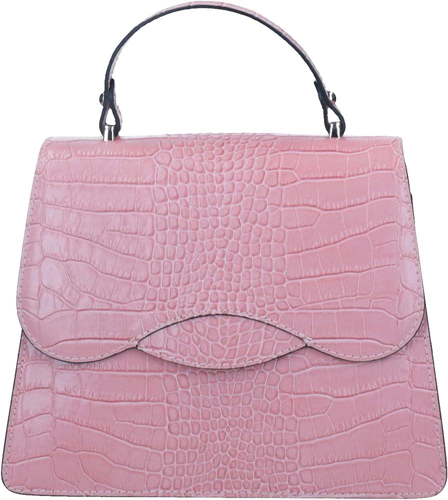 Anima modello gabriella cocco, borsa a mano per donna in vera pelle, rosa