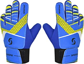 Sportout Kids Goalkeeper Gloves, Soccer Gloves with Double Wrist Protection and Non-Slip Wear Resistant Latex Material to Give Protection to Prevent Injuries
