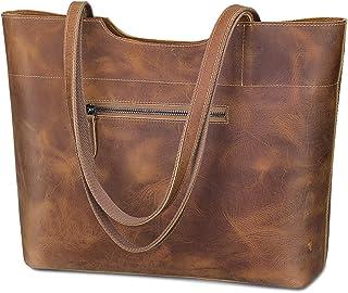 S-ZONE Vintage Genuine Crazy Horse Leather Large Tote Shoulder Bag Purse with Back Zipper Pocket Upgraded 2.0 Version