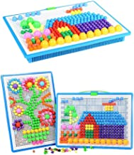 Upworld 296 pcs Mushroom Nails Pegboard Educational Colourful Jigsaw Puzzle Building Blocks Bricks Creative DIY Mosaic Toys for Kids & Toddlers, Perfect Birthday for Girls Boys Age 3-8 years