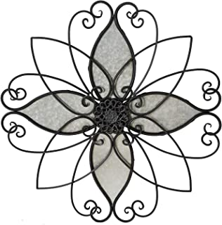 Adeco Rustic Urban Flower Scrolled Metal Wall Hanging Decor, 23x23 Inches
