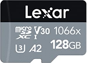 Lexar Professional 1066x 128GB microSDXC UHS-I Card w/SD Adapter Silver Series, Up to 160MB/s Read, for Action Cameras, Dr...