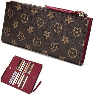 Wallets for Women Leather Zipper Pocket Monogram Clutch Flower Purse RFID Blocking with Card Holder Organizer 61269