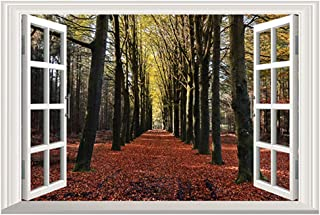 DNVEN 24 inches x 16 inches 3D Full Colour Autumn Red Leaves in Forests Nature Forests Scenery False Faux Window Frame Window Mural Vinyl Bedroom Living Room Playroom Wall Decals Stickers
