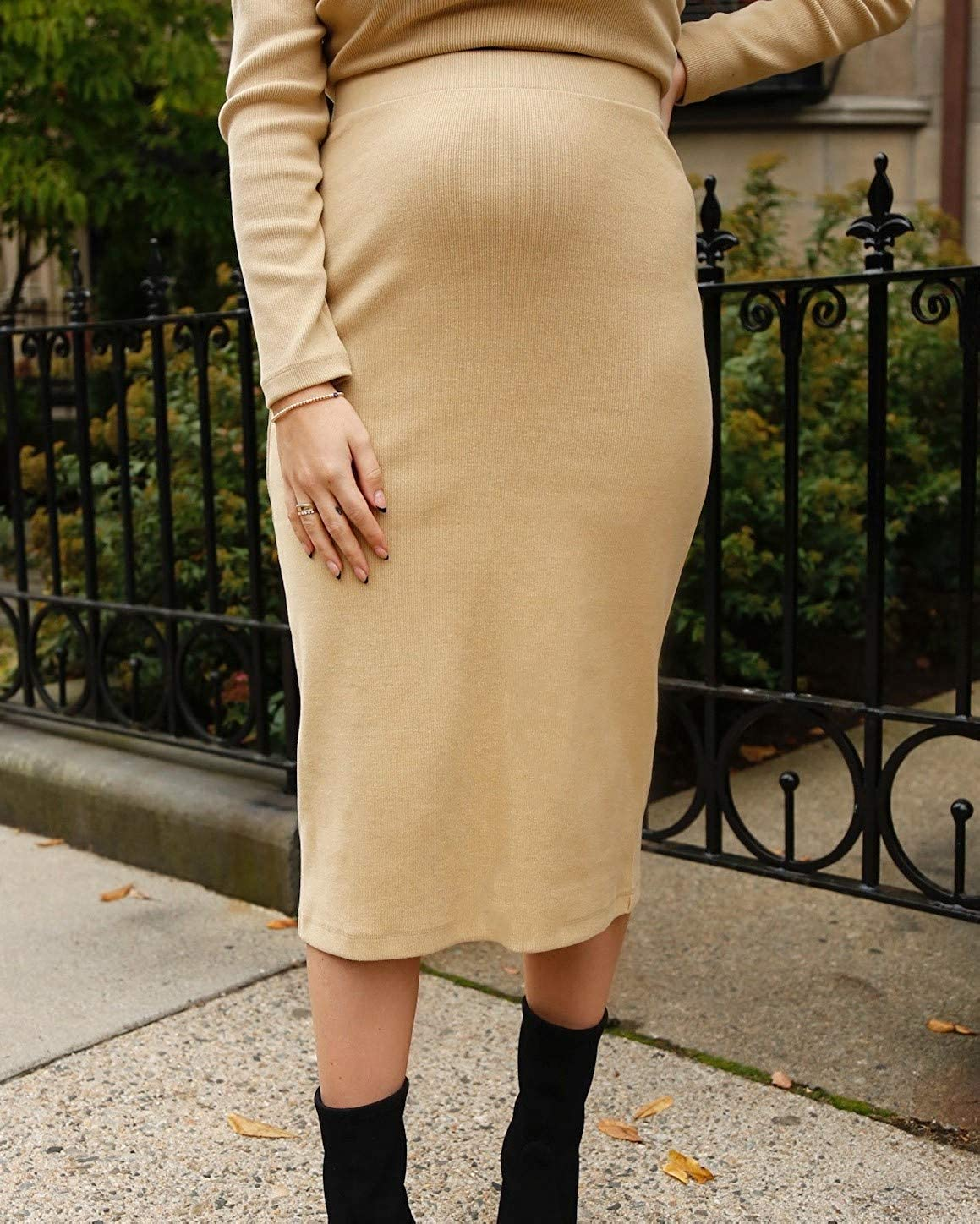 The Drop Women's Tan Fitted Midi Skirt by @somewherelately