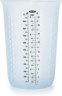 كوب لقياس الضغط والسب السيليكون مع نقش يحافظ على البرودة من أوكسو جود جريبس, 4 Cup, كولومبيا بلو