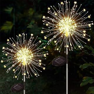 Yowin 2 Pack Solar Firework Lights 120 LED Starburst Lights, Copper Wire Outdoor Garden Lights Waterproof Pathway Lights f...