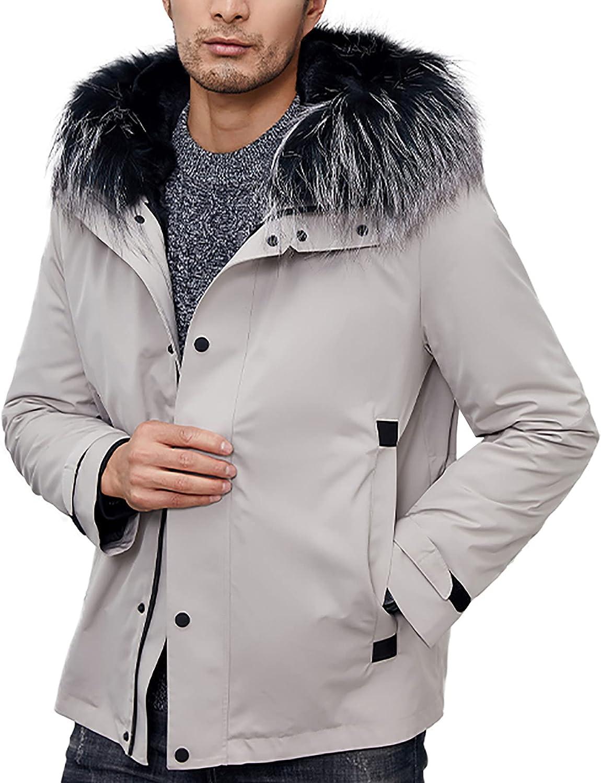 Men's Fox Fur Collar Hooded Short Parka with Detachable Rabbit Fur Lined Coat Zipper Closure