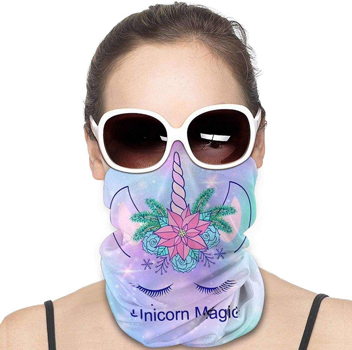 KiuLoam Women Bandanas Face Mask, Galaxy Unicorn Starry Nebula Neck Gaiter Mask Headband for Men Face Scarf Dust, Outdoors, Sports