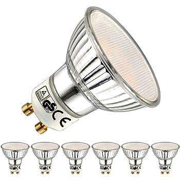 EACLL Bombillas LED GU10 2700K Blanco Cálido 5W 450 Lúmenes Equivalente 50W Halógena. 36 ° Luz Blanca Cálida Lámpara Reflectoras Spotlight LED, 6 Pack: Amazon.es: Iluminación
